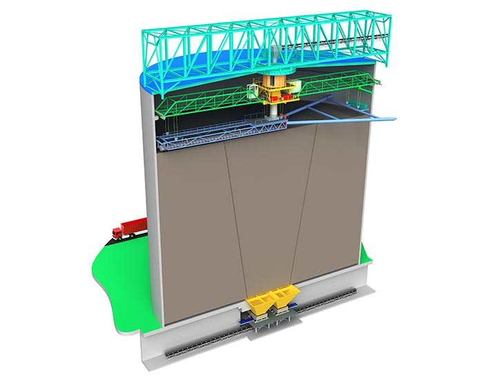 3D image of a 100,000 m3 coal storage silo fuel management system